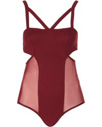 Topshop Strappy Jersey Body red - Lyst