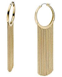 MICHAEL Michael Kors Gold Tone Fringe Hoop Earrings - Lyst