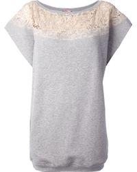 MSGM Lace Trim Sweatshirt Dress - Lyst