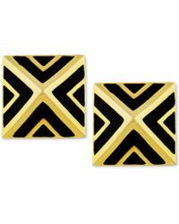 Vince Camuto - Goldtone Black Chevron Pyramid Stud Earrings - Lyst