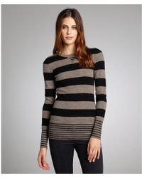 Autumn Cashmere Rye And Black Striped Cashmere Crewneck Sweater - Lyst