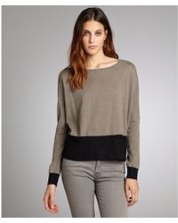Autumn Cashmere Taupe And Black Cashmere Colorblock Pocket Sweater - Lyst