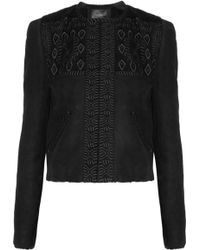 Isabel Marant Embroidered Shearling Jacket black - Lyst