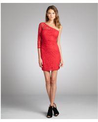 Max & Cleo Burnt Poppy Cotton Blend Lace 'Amanda' One Sleeve Dress - Lyst