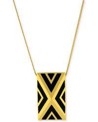 Vince Camuto - Gold Tone Black Chevron Pyramid Pendant Necklace - Lyst
