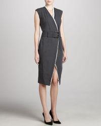 Donna Karan New York Belted Contrasttrim Dress - Lyst