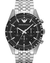 Emporio Armani - 7 Link Silver Stainless Steel Bracelet Chronograph Sport Watch - Lyst