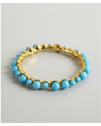 Kenneth Jay Lane Turquoise And Gold Stone Bangle - Lyst