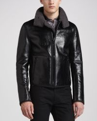 Lanvin Crinkled Leather Jacket with Woolblend Back - Lyst