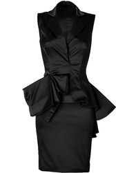 Marchesa Satin Dress with Peplum in Black - Lyst