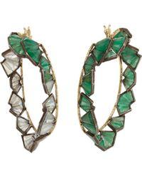 Nak Armstrong - Emerald Rainbow Moonstone Labradorite Hoop Earrings - Lyst