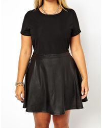 Wrangler - Alice You Jersey Dress With Leather Look Skater Skirt - Lyst