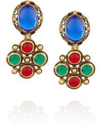 Oscar de la Renta Gold Plated Cabochon and Crystal Clip Earrings - Lyst