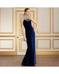 Ralph Lauren Collection Beaded Velvet Isadore Gown - Lyst