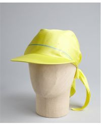 Hermes Yellow Silk Cap with Scarf - Lyst