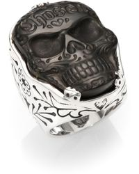 King Baby Studio Carved Jet Chosen Skull Ring - Lyst