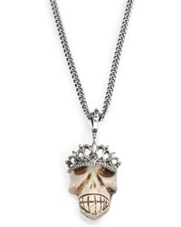 King Baby Studio Crowned Quartz Skull Pendant Necklace - Lyst