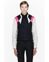 Mugler - Black Colorblocked Multi-fabric Shirt - Lyst