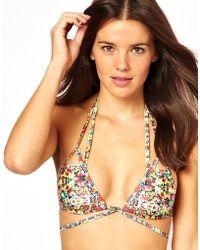 Fred Perry - Asos Mirror Floral Lattice Triangle Bikini Top - Lyst