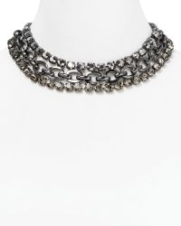 Cara Accessories Gray Stone Triple Strand Necklace 14 gray - Lyst