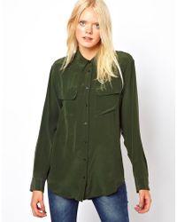 Equipment Signature Two Pocket Silk Shirt in Dark Army - Lyst