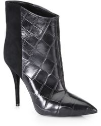 B Brian Atwood Djuna Crocodileembossed Leather Suede Ankle Boots - Lyst