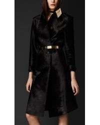 Burberry Glossy Calfskin Trench Coat - Lyst