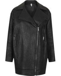 Topshop Textured Slouchy Biker Jacket - Lyst