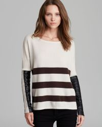 Jamison - Quotation Sweater Striped Leather Sleeve - Lyst