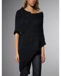 Patrizia Pepe Cape Coat in Wool and Silk Yarn - Lyst