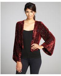 Winter Kate Wine Velvet Dot Flocked Bed Jacket - Lyst