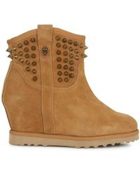 Ash - Studded Suede Wedge Ankle Boots - Lyst