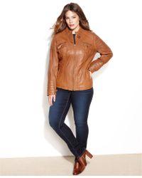 Michael Kors Michael Plus Size Leather Buckle-Collar Motorcycle Jacket - Lyst