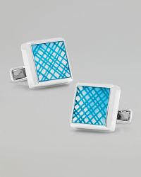 Ravi Ratan - Laser Cut Cuff Links Blue - Lyst