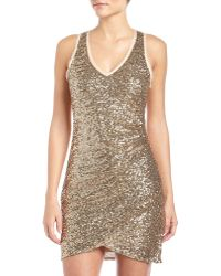 Ali Ro Ruched Vneck Sequin Dress - Lyst