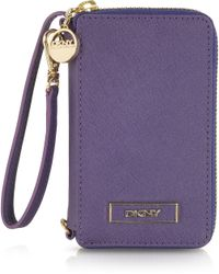 DKNY - Purple Saffiano Leather Iphone Wallet Wwristelet - Lyst