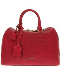 76737cf8a3d Lyst - Emporio Armani Calf Leather Bowling Bag in Red