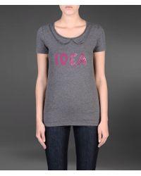 Emporio Armani T-shirt in Stretch Cotton with Rhinestones - Lyst