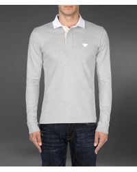 Emporio Armani Long Sleeved Polo Shirt with Eagle Logo - Lyst