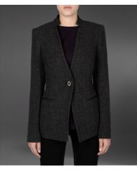 Emporio Armani Jacquard Jacket with Jeweled Button - Lyst