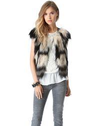 Twelfth Street Cynthia Vincent - Faux Fur Vest - Blue Multi - Lyst