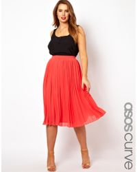 Asos Curve Midi Skirt with Pleats - Lyst
