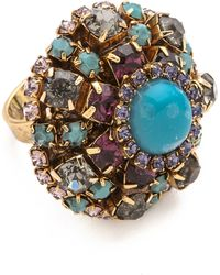 Erickson Beamon - 'stratosphere' Faux Pearl Crystal Floral Cluster Ring - Lyst