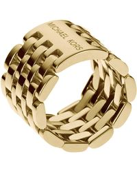 Michael Kors - Goldtone Flexible Watch Link Ring - Lyst