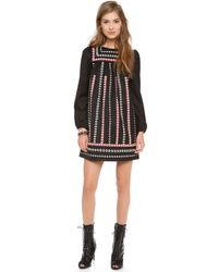 RED Valentino Embroidered Ribbon Long Sleeve Dress - Lyst