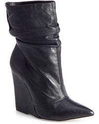 Alice + Olivia Odessa Tumbled Leather Wedge Boots - Lyst