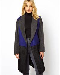 ASOS - Contrast Colour Block Coat - Lyst