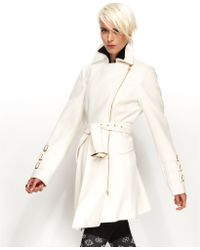 Bebe Coat Asymmetrical Belted Trench Coat - Lyst