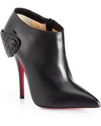 Christian Louboutin Huguette Leather Moto Ankle Boots - Lyst