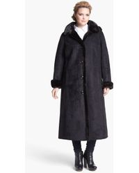 Gallery Faux Shearling Coat with Detachable Hood - Lyst